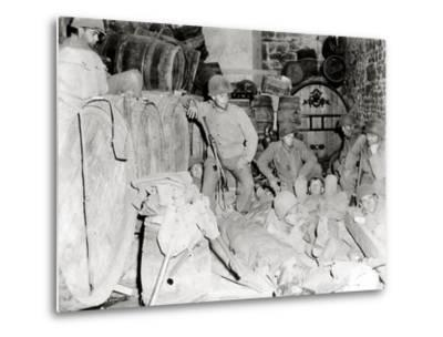 American Soldiers in a Basement with Barrels of Cider--Metal Print