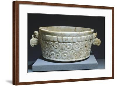 Carved and Sanded Alabaster Tripod Container--Framed Giclee Print