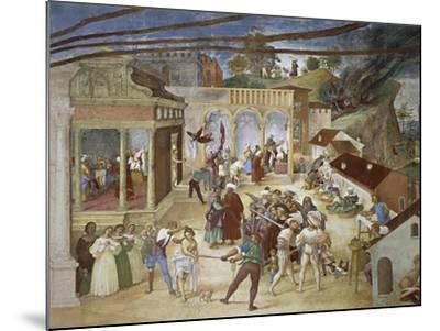 St Barbara Being Led Through Streets of City--Mounted Giclee Print