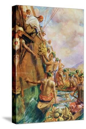 The Arrival of Captain James Cook in Tahiti in 1769--Stretched Canvas Print