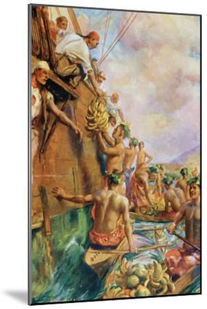 The Arrival of Captain James Cook in Tahiti in 1769--Mounted Giclee Print