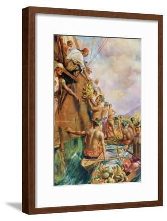 The Arrival of Captain James Cook in Tahiti in 1769--Framed Giclee Print