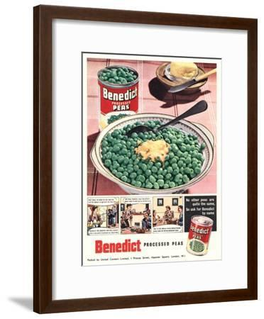 Advert for 'Benedict' Peas--Framed Giclee Print