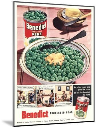 Advert for 'Benedict' Peas--Mounted Giclee Print