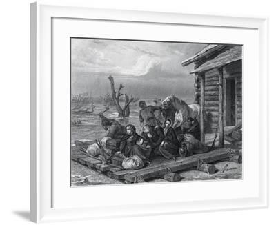 Emigrants on Raft in Canada--Framed Giclee Print