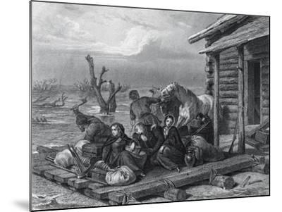 Emigrants on Raft in Canada--Mounted Giclee Print