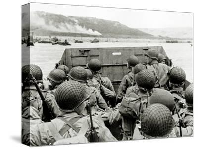 U.S. Soldiers Watch the Normandy Coast from a Landing Craft Vehicle, Personnel--Stretched Canvas Print