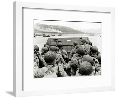 U.S. Soldiers Watch the Normandy Coast from a Landing Craft Vehicle, Personnel--Framed Photographic Print