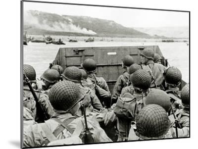 U.S. Soldiers Watch the Normandy Coast from a Landing Craft Vehicle, Personnel--Mounted Photographic Print