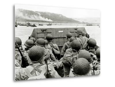 U.S. Soldiers Watch the Normandy Coast from a Landing Craft Vehicle, Personnel--Metal Print