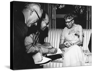 Eleanor Roosevelt Being Interviewed by Miami Herald Political Reporter John Mcdermott--Stretched Canvas Print
