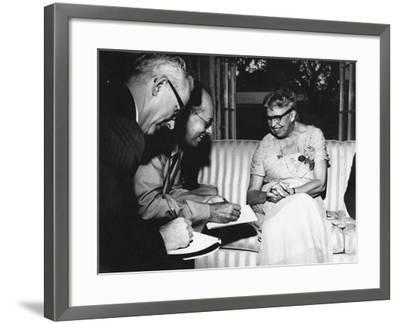 Eleanor Roosevelt Being Interviewed by Miami Herald Political Reporter John Mcdermott--Framed Photographic Print