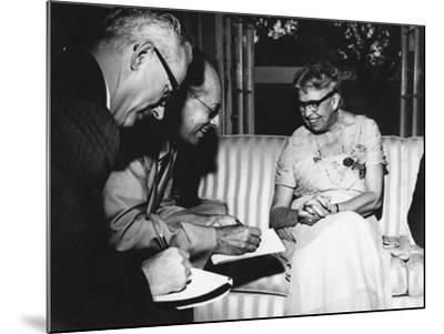 Eleanor Roosevelt Being Interviewed by Miami Herald Political Reporter John Mcdermott--Mounted Photographic Print