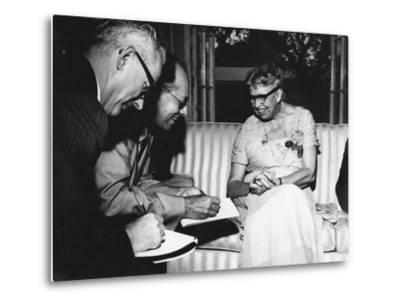 Eleanor Roosevelt Being Interviewed by Miami Herald Political Reporter John Mcdermott--Metal Print