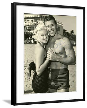 Actress Jayne Mansfield and Her Husband Mickey Hargitay Embracing on Miami Beach, 1958.--Framed Photographic Print