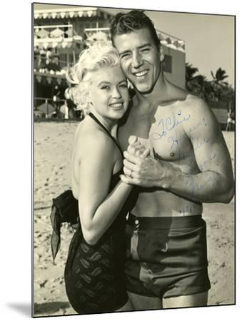 Actress Jayne Mansfield and Her Husband Mickey Hargitay Embracing on Miami Beach, 1958.--Mounted Photographic Print