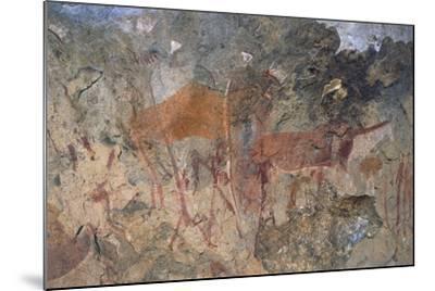 Figures of Ungulates, Bushmen or San Cave Paintings, Maloti-Drakensberg Park--Mounted Photographic Print