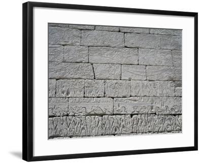 Naval Combat Between Egyptians and Confederates, Detail of Relief, Medinet Habu, Thebes--Framed Photographic Print
