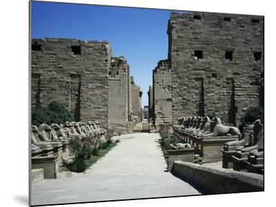 The Entrance with the First Pylon and Ram-Headed Sphinxes, Temple of Amun, Karnak Temple Complex--Mounted Photographic Print
