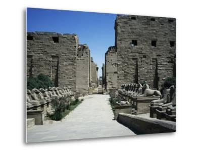 The Entrance with the First Pylon and Ram-Headed Sphinxes, Temple of Amun, Karnak Temple Complex--Metal Print