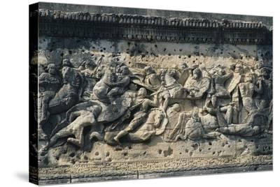 Battle Scene Between the Gauls and Romans, Relief from the Arch of Triumph in Orange--Stretched Canvas Print