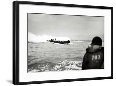 U.S. Landing Craft Approaching Omaha Beach, Normandy, France, 6th June 1944--Framed Photographic Print