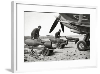 Bombs Being Loaded into a Supermarine Spitfire Mk XIV of the Royal Air Force--Framed Photographic Print
