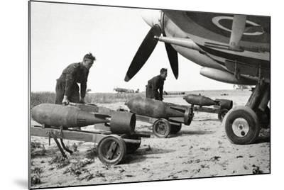 Bombs Being Loaded into a Supermarine Spitfire Mk XIV of the Royal Air Force--Mounted Photographic Print