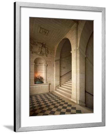 France, Chateau De Brissac in Brissac-Quince, Loire Valley, Stone Staircase in Louis XIII Style--Framed Photographic Print