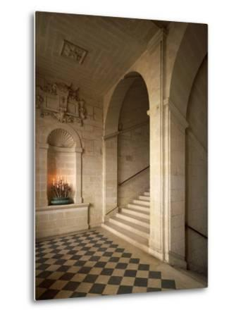 France, Chateau De Brissac in Brissac-Quince, Loire Valley, Stone Staircase in Louis XIII Style--Metal Print