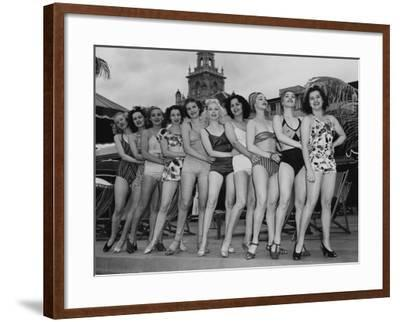 Women Model their Swimsuits at the Roney Plaza, Miami Beach, Florida, C.1940--Framed Photographic Print