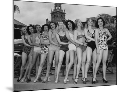 Women Model their Swimsuits at the Roney Plaza, Miami Beach, Florida, C.1940--Mounted Photographic Print