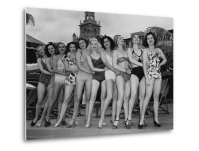 Women Model their Swimsuits at the Roney Plaza, Miami Beach, Florida, C.1940--Metal Print