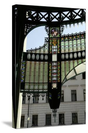 Stained-Glass Decoration of the Municipal House Portal, Prague, Czech Republic--Stretched Canvas Print