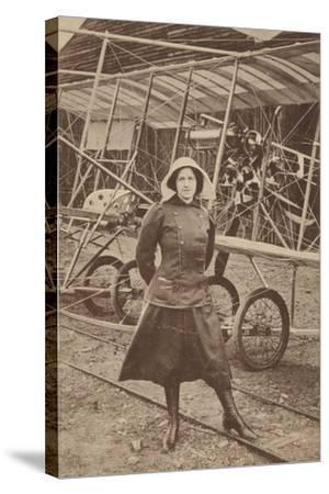 Lily Irvine Martin, the First Woman to Fly an Aeroplane, at Hendon Aerodrome, London--Stretched Canvas Print