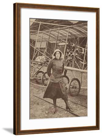 Lily Irvine Martin, the First Woman to Fly an Aeroplane, at Hendon Aerodrome, London--Framed Photographic Print