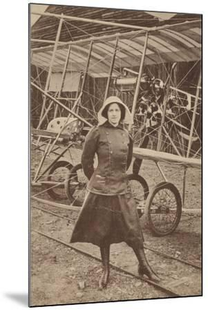 Lily Irvine Martin, the First Woman to Fly an Aeroplane, at Hendon Aerodrome, London--Mounted Photographic Print