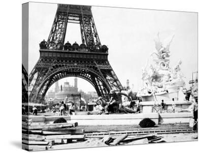 Constructing the Fountain St. Vidal Near the Eiffel Tower, Paris Exhibition, 1889--Stretched Canvas Print