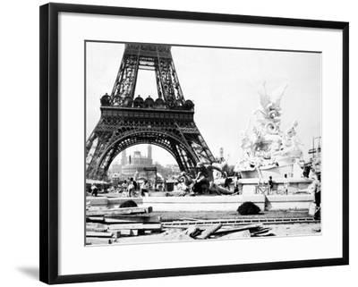 Constructing the Fountain St. Vidal Near the Eiffel Tower, Paris Exhibition, 1889--Framed Photographic Print