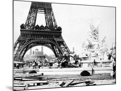 Constructing the Fountain St. Vidal Near the Eiffel Tower, Paris Exhibition, 1889--Mounted Photographic Print