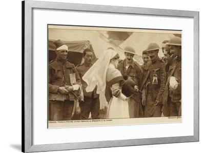 Canadian Troops Presenting a Nurse with a Dog They Found in a German Trench, World War I--Framed Photographic Print