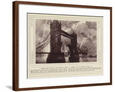 A German Fancy Picture of an Air-Raid on London, a Zeppelin over the Tower on 17 August--Framed Photographic Print