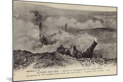 French 220 Mm Mortar in Action, Second Battle of Champagne, World War I, September 1915--Mounted Photographic Print