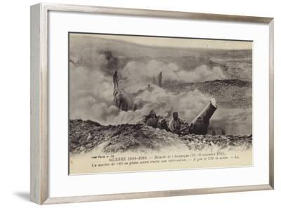 French 220 Mm Mortar in Action, Second Battle of Champagne, World War I, September 1915--Framed Photographic Print