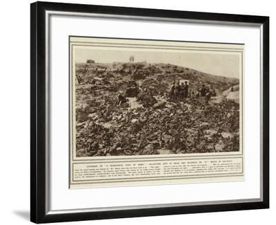 Evidence of a Wonderful Feat of Arms, Collecting Kits of Dead and Wounded on W Beach in Gallipoli--Framed Photographic Print