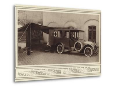 An Automobile Altar, a Car-Church for German Soldiers in the Field, Altar Facing the Tent--Metal Print