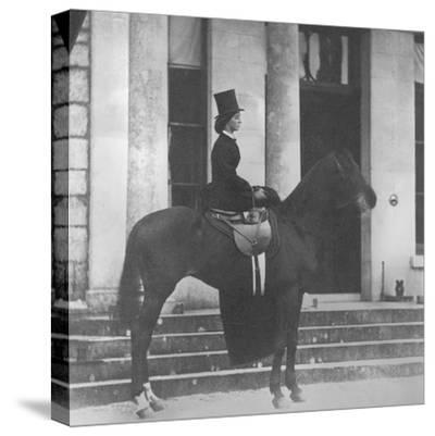 Augusta Crofton Riding Sidesaddle on Her Horse Champion, Ready for the Hunt, 1860--Stretched Canvas Print
