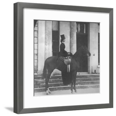Augusta Crofton Riding Sidesaddle on Her Horse Champion, Ready for the Hunt, 1860--Framed Photographic Print