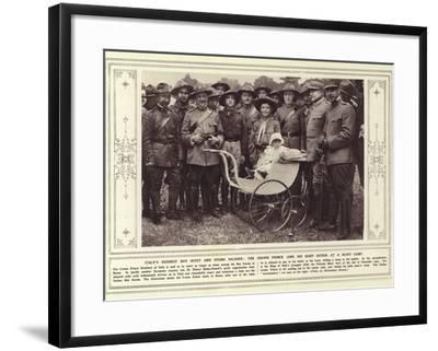 Italy's Keenest Boy Scout and Young Soldier, the Crown Prince, and His Baby Sister, at a Scout Camp--Framed Photographic Print