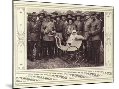 Italy's Keenest Boy Scout and Young Soldier, the Crown Prince, and His Baby Sister, at a Scout Camp--Mounted Photographic Print